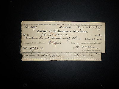 1827 Lancaster Ohio Bank, Ohio Canal Bank Check W/invoice