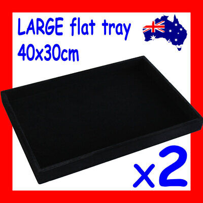 PREMIUM 2X LARGE Flat Jewellery Tray-40x30cm-FULL Black Velvet | AUSSIE Seller