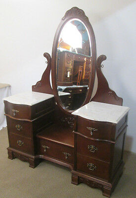 57042 Victorian Marble Top Cherry Vanity w/ Oval Beveled Dressing Mirror