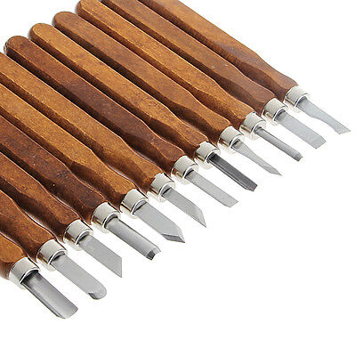 New 3/8/12Pcs Wood Carving Tool Mini Chisel Steel Blades Assorted Wooden handle