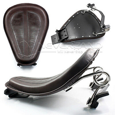 PU Leather Solo Seat+Silver Bracket Spring for Harley Sportster XL1200 883 Brown