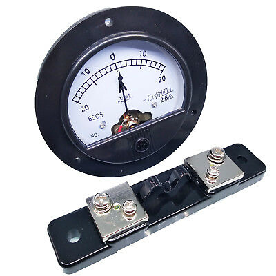 DC -20A ~ +20A Round Analog AMP Current Needle Panel Meter Ammeter & Shunt