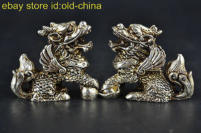 China Collectible Old Culture Style Vintage Tibet Silver Kylin Guarder Statues
