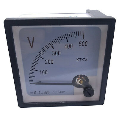 US Stock AC 0~500V Square Analog Volt Pointer Needle Panel Meter Voltmeter XT-72