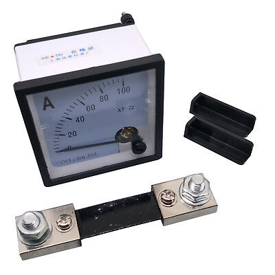 US Stock DC 0 ~ 100A Analog AMP Current Needle Panel Meter Ammeter XT-72 & Shunt