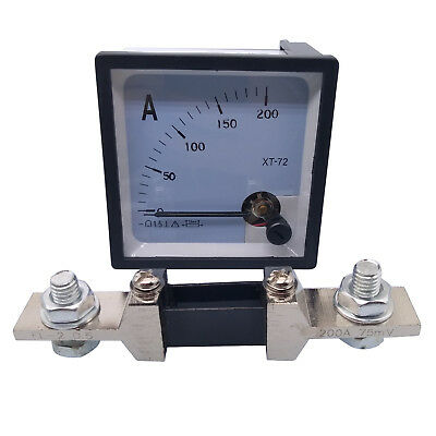 US Stock DC 0 ~ 200A Analog AMP Current Needle Panel Meter Ammeter XT-72 & Shunt