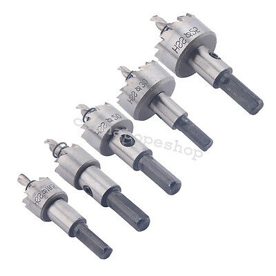 5PCS HSS Drill Bit Hole Saw Tooth Stainless Steel Alloy Metal Cutter Set 16-30mm