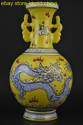 Collectible China Old Porcelain Painting Blue Dragon Noble Royal Yellow Vase
