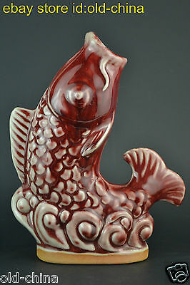 200mm Collectible Vintage Old Porcelain Red Glaze Carve Fish Jump Lucky Statue