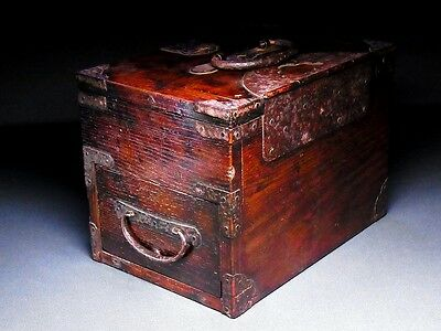 19th C Japanese Edo Meiji Antique Furniture Drawer TANSU Suzuri-Bako D167