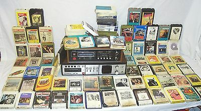 Vintage Job Lot Of 8 Track Recorders Player &  8 Track Cartridges x 80