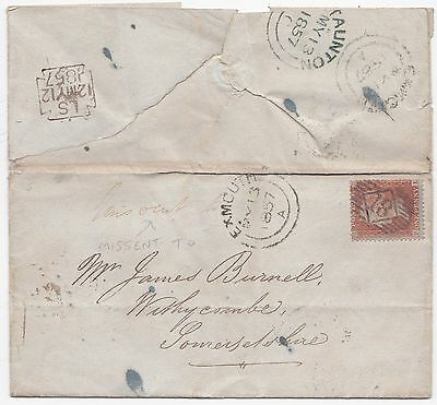 1857 Lombard Street London =18= Numeral Wrapper To Withycombe Missent To Exmouth
