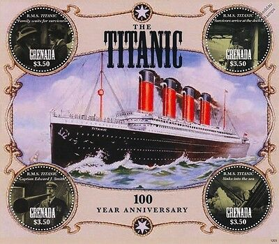 1912-2012 RMS TITANIC Ship Stamp Sheet (Grenada) Circle / Circular Stamps