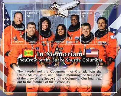 NASA STS-107 Space Shuttle COLUMBIA Astronaut Memorial Stamp Sheet/2003 Grenada