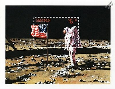 APOLLO XI Moon Landing/Neil Armstrong/USA Flag/Space Stamp Sheet (1999 Grenada)