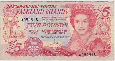 1983 FALKLAND ISLANDS P12a FIVE POUNDS BANKNOTE IN VERY FINE CONDITION