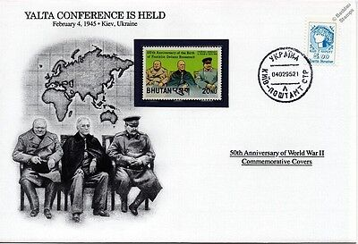 WWII 1945 Yalta Conference: Churchill / FDR / Stalin Stamp Cover (Danbury Mint)