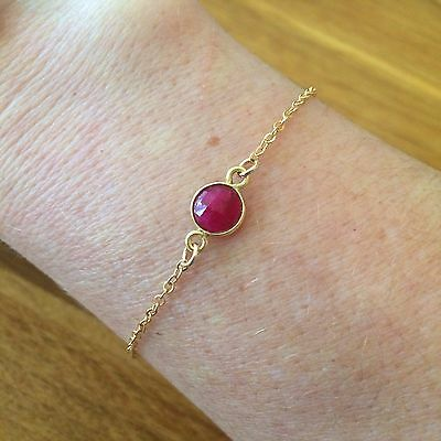 DESIGNER 18k GOLD FILL RUBY BRACELET DAINTY MINIMALIST JEWELLERY JULY BIRTHSTONE