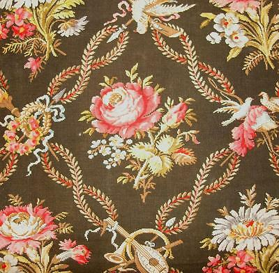 BEAUTIFUL 19th CENTURY FRENCH LINEN, ROSES, BIRDS, MUSICAL INSTRUMENTS