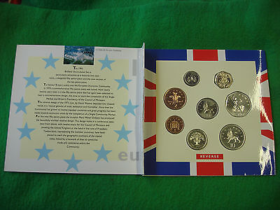 1992 Uk Brilliant Uncirculated  Coin Collection Eec 50P Missing