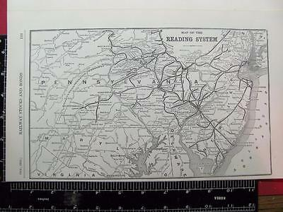 100 Year Old 1916 Reading Railroad System Map Pennsylvania Rr History