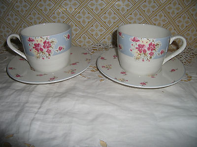 Marks & Spencer Fine China Ditsy Floral Cups And Saucers X 2