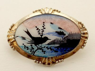 VINTAGE SILVER GILT AND ENAMEL BROOCH  by Arne Nordlie Norway  Bird  830 silver