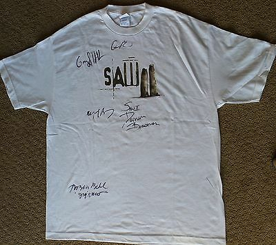 SAW II HAND SIGNED CAST T-SHIRT TOBIN BELL MOVIE Promotional PROM CAST & CREW