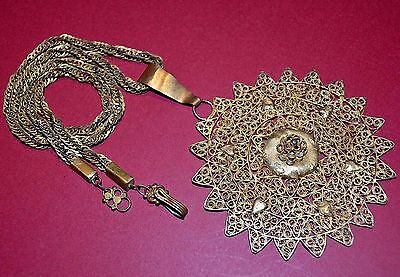 Antique Yoruba Tribal Gilded Brass Filigree Pendant & Necklace Nigeria, Africa