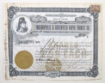 Indianapolis & Greenfield Railroad Stock Certificate 1900