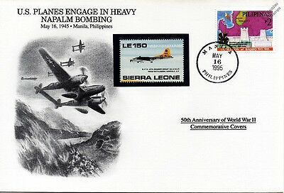 WWII 1945 US Napalm Bombing / Aircraft Stamp Cover (Philippines / Danbury Mint)