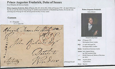 GB.Pre Stamp Freepost Front.1839.Prince Augustus Frederick.