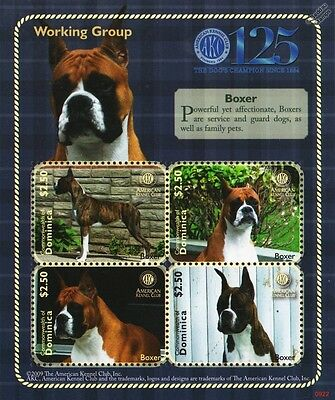 Boxer Dog Stamp Sheet (American Kennel Club Working Group) 2009 Dominica