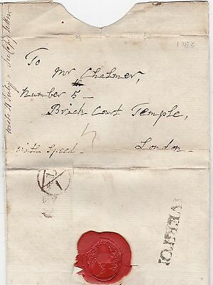 1783 Rare Tiverton Letter Rev Jos Hole To Chalmer At Temple London Bounty Office