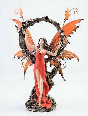 Orange Fairy with Tree Circle Figurine Legends of Avalon Metal Wings