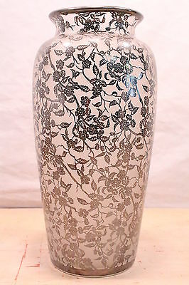 "Large Antique Silver Overlay Frosted Glass Vase Flowers Floral 14 1/2""H"