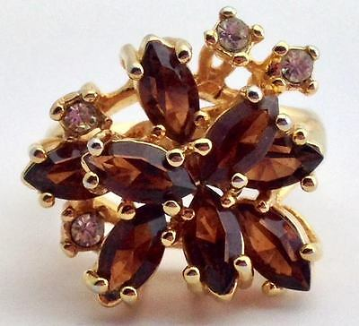 Vintage ESPO 18K Gold Plated Cocktail Ring, Brown & Clear Rhinestones, Size 8