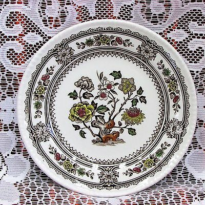 Wood & Sons Dorset Bread Plate Brown Multi Color Floral Scrolls Transfer Vintage