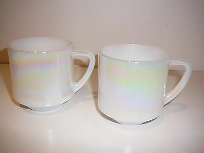 2 x Vintage Fire King Milk Glass Iridescent lustre made in USA stackable mugs