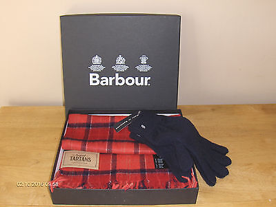 Barbour Tartan Lambswool Scarf+One Size Wool Gloves- Gift Box-Bnwl Rrp £52