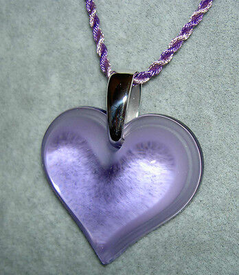 Authentic LALIQUE France Parme Purple Heart Coeur Crystal Pendant Necklace NIB