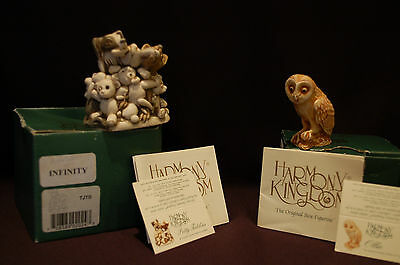Harmony Kingdom Ollie Owl Netsuke & Petty Teddies Infinity Tjtb Both Boxed