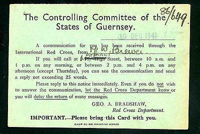 1941 The Controlling Committee of the States of Guernsey Red Cross Bradshaw card