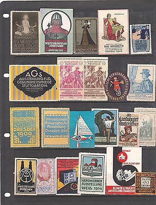 Poster Stamps, A Collection Of 22 German Exhibition Labels