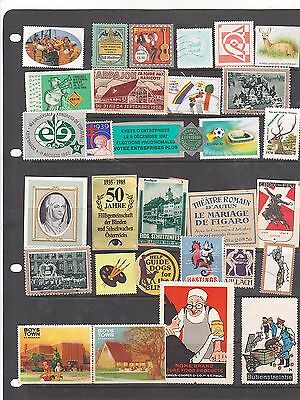 Poster Stamps, A Collection Of 31 Various Countries Labels