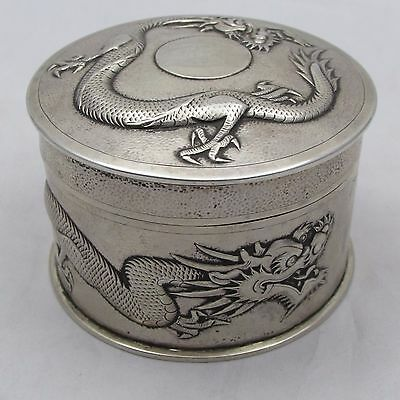 SUPERB ANTIQUE CHINESE EXPORT SILVER BOX JAR AND COVER TUCK CHANG SHANGHAI 171 g