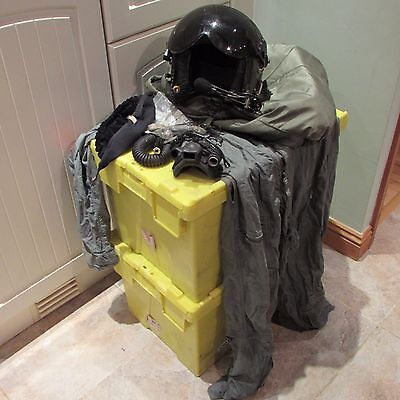 Vintage Raf Flying Helmet Mk 3 With Mask Bag And Overall Plus Spares