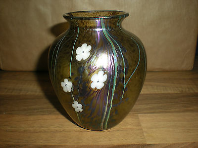 OKRA GLASS SMALL  VASE FLORAL - Richard Golding 2005 10cm / 4 INCHES TALL