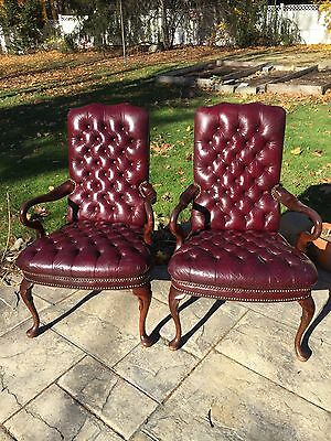 Pair Set Two Vintage Queen Anne Style Tufted Leather Chairs