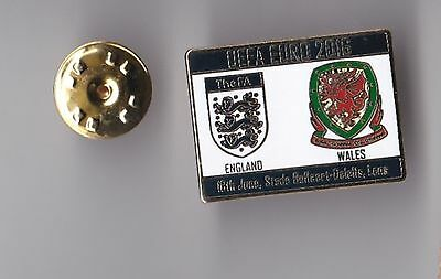 """England v Wales """"Euro 2016"""" - lapel badge No.1 butterfly fitting"""